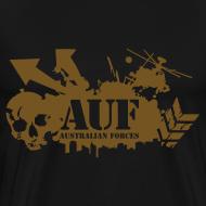 Design ~ AUF Logo - Mens Heavyweight T-Shirt - Basic Logo - Metallic GOLD Speciality Flex Printing borderless LOGO and URL