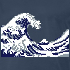 Hokusai Wave Pixel art T-Shirts
