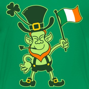 Proud Leprechaun Waving an Irish Flag Kids' Shirts - Kids' Premium T-Shirt