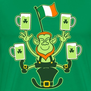 Leprechaun Juggling Beers and Irish Flag T-Shirts - Men's Premium T-Shirt