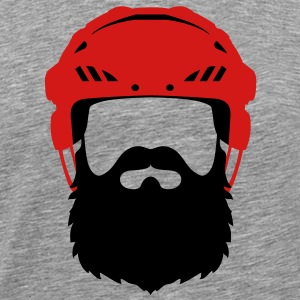 Hockey Helmet with Beard - Playoff T-Shirts - Men's Premium T-Shirt