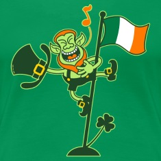 Leprechaun Singing on an Irish Flag Pole Women's T