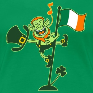 Leprechaun Singing on an Irish Flag Pole Women's T - Women's Premium T-Shirt