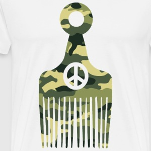 Afro Hair Peace Camo T-Shirts - Men's Premium T-Shirt