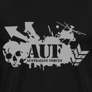 Design ~ AUF Logo - Mens Heavyweight T-Shirt - Basic Logo - Metallic Silver Printing borderless LOGO and URL