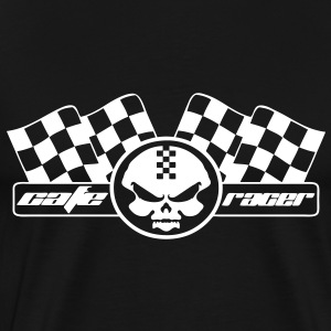 cafe racer racing motorcycle skull and flag - Men's Premium T-Shirt