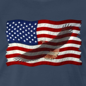 Eagle & US Flag Patriotic 3 - Men's Premium T-Shirt