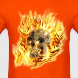 Skull & Fiery Flames - Men's T-Shirt