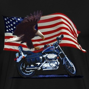 Wild & Free - Patriotic Eagle, Motorbike & US Flag - Men's Premium T-Shirt