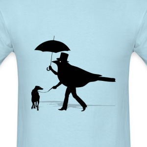 Bird Walking a Dog - Men's T-Shirt