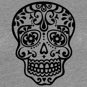 Mexican skull, floral pattern - Days of the Dead Women's T-Shirts - Women's Premium T-Shirt