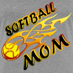 Softball Mom (flame) Women's T-Shirts