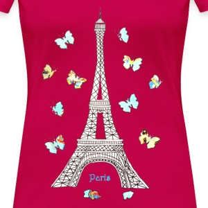 Paris Love Blue Butterflies Women's T-Shirts - Women's Premium T-Shirt