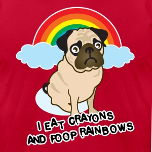Rainbow poop pug T-Shirts - Men's T-Shirt by American Apparel