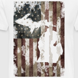 USA Flag Distressed Michigan Down with Detroit T-Shirts - Men's Premium T-Shirt