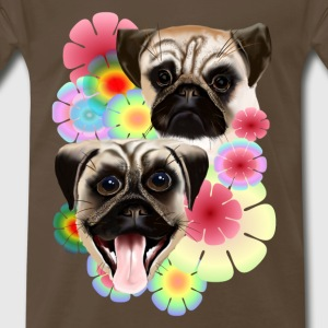 Happy Pug Grouchy Pug-Very bright flowers - Men's Premium T-Shirt