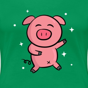 cute pink piggy dancing happily Women's T-Shirts - Women's Premium T-Shirt