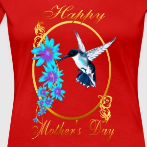 One Blue Hummingbird and a Mom - Women's Premium T-Shirt
