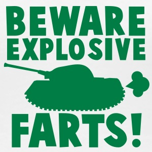 BEWARE EXPLOSIVE FARTS with military TANK Women's T-Shirts - Women's Premium T-Shirt