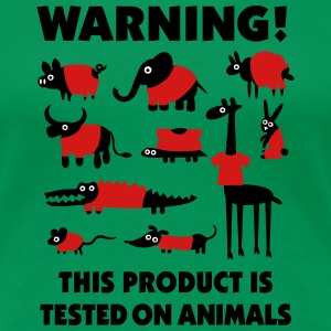 Warning! This product is tested on animals 3clr Women's T-Shirts - Women's Premium T-Shirt