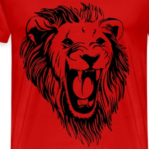 Lion - male face roaring T-Shirts - Men's Premium T-Shirt