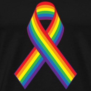 Gay Pride Rainbow Ribbon T-Shirts - Men's Premium T-Shirt