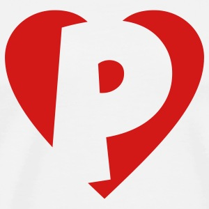 I love P T-Shirt - Heart P - Heart with letter P - Men's Premium T-Shirt