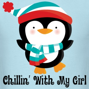 Couples Penguin Mens T-shirt (Chillin with my girl - Men's T-Shirt