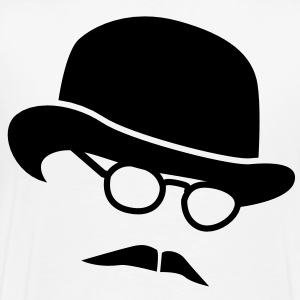 Bowler hat man in glasses and a moustache T-Shirts - Men's Premium T-Shirt