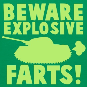BEWARE EXPLOSIVE FARTS with military TANK T-Shirts - Men's Premium T-Shirt