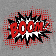 BOOM, comic, speech bubble, cartoon, balloon, dots Women's T-Shirts