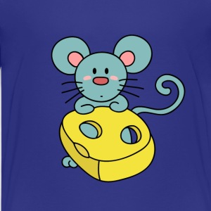 cute blue mouse with cheese Kids' Shirts - Kids' Premium T-Shirt