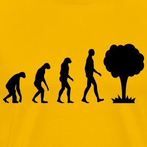 Evolution with nuclear power mushroom T-Shirts - Men's Premium T-Shirt