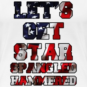 Let's Get Star Spangled Hammered Flag Design Women's T-Shirts - Women's Premium T-Shirt