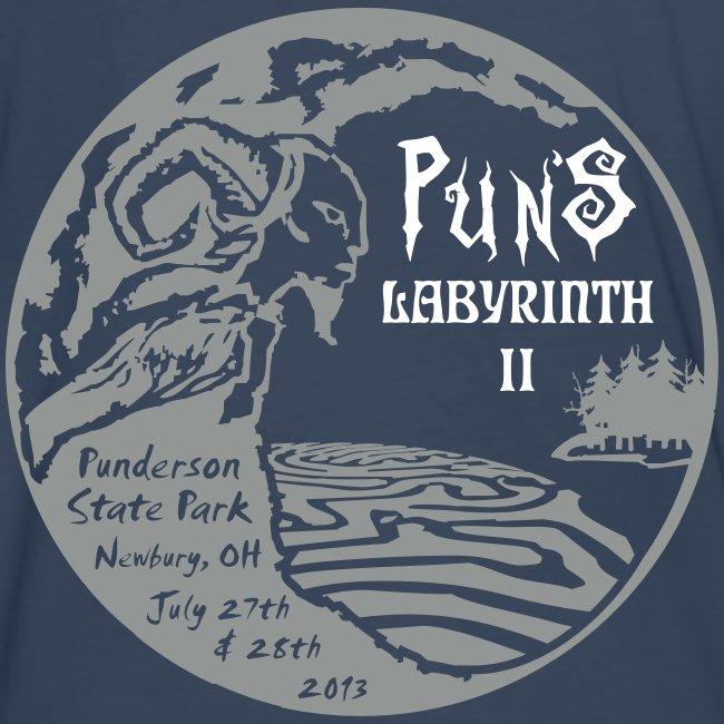 Puns Labyrinth II Men's Shirt Back Print Navy | Men's Premium T-Shirt