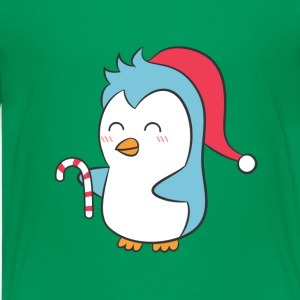 cute penguin with Christmas cap and candy cane Kids' Shirts - Kids' Premium T-Shirt