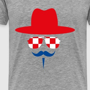 Croatia Fan with mustache T-Shirts - Men's Premium T-Shirt