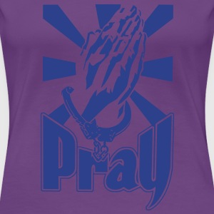 pray womens blue glitz on purple shirt - Women's Premium T-Shirt