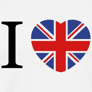 I love UK flag and heart T-Shirts - Men's Premium T-Shirt