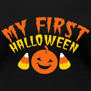 MY FIRST HALLOWEEN! with candy corn and pumpkin Women's T-Shirts - Women's Premium T-Shirt