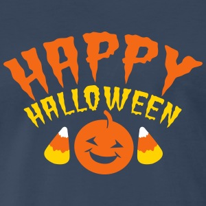Happy Halloween! with candy corn and smiling pumpk T-Shirts - Men's Premium T-Shirt