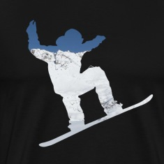 Snowboarder on snow covered mountain avalanche 01 T-Shirts