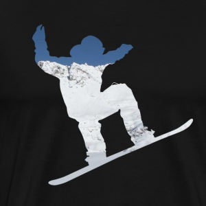 Snowboarder on snow covered mountain avalanche 01 T-Shirts - Men's Premium T-Shirt