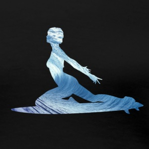 Surfing Big Wave Surfer Girl Silhouette Women's T-Shirts - Women's Premium T-Shirt