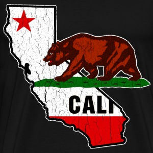 California Bear Flag (Distressed) - Men's Premium T-Shirt