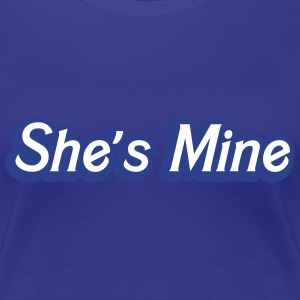 She's MINE in male blue cute couple shirt Women's T-Shirts - Women's Premium T-Shirt