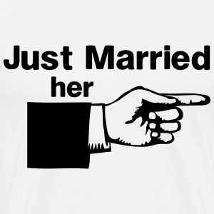 Just Married Her Pointing Finger T-Shirts - Men's Premium T-Shirt