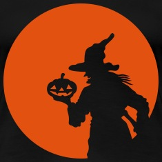 Witch and Moon Halloween Orange 1c Women's T-Shirts