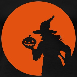 Witch and Moon Halloween Orange 1c Women's T-Shirts - Women's Premium T-Shirt