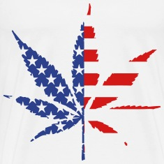 Marijuana Leaf American Flag T-Shirts